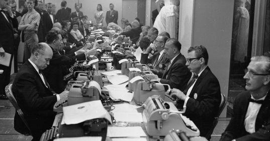 Long Row of Typewriters